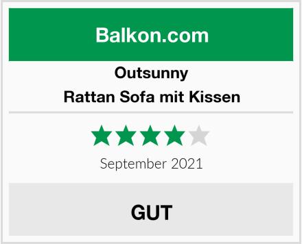 Outsunny Rattan Sofa mit Kissen Test